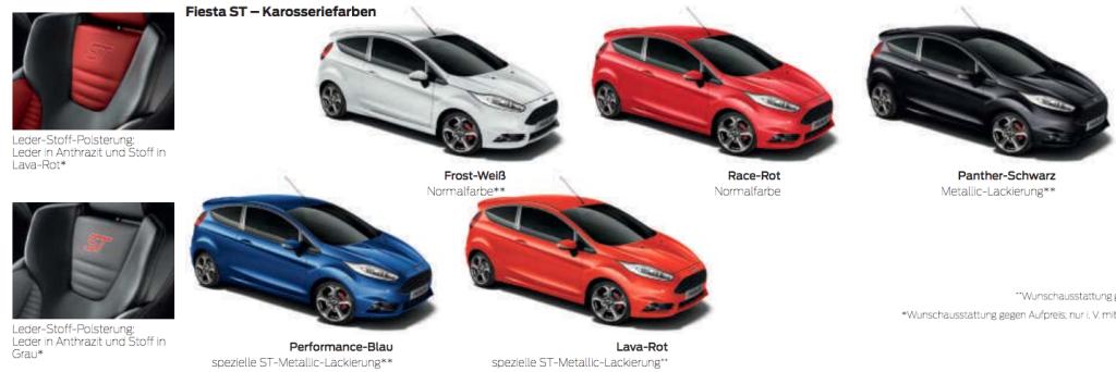 Fiesta ST Renk Seçenekleri